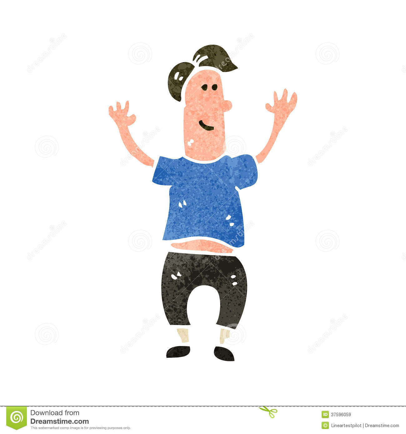 Cartoon Stylized Man Jumping And Showing Thumbs Up Royalty Free ...