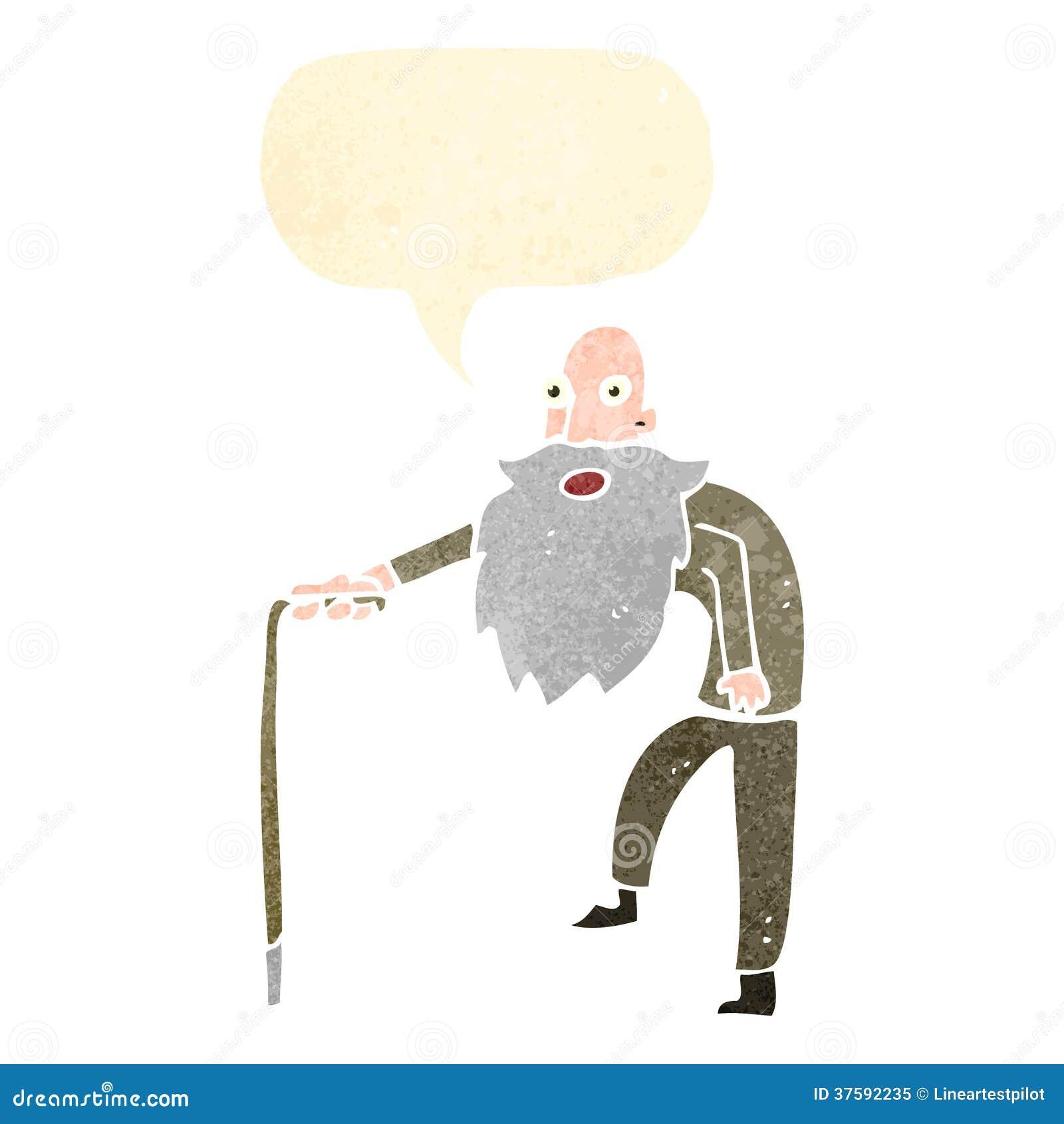 retro cartoon old man with Old Man Walking Cartoon
