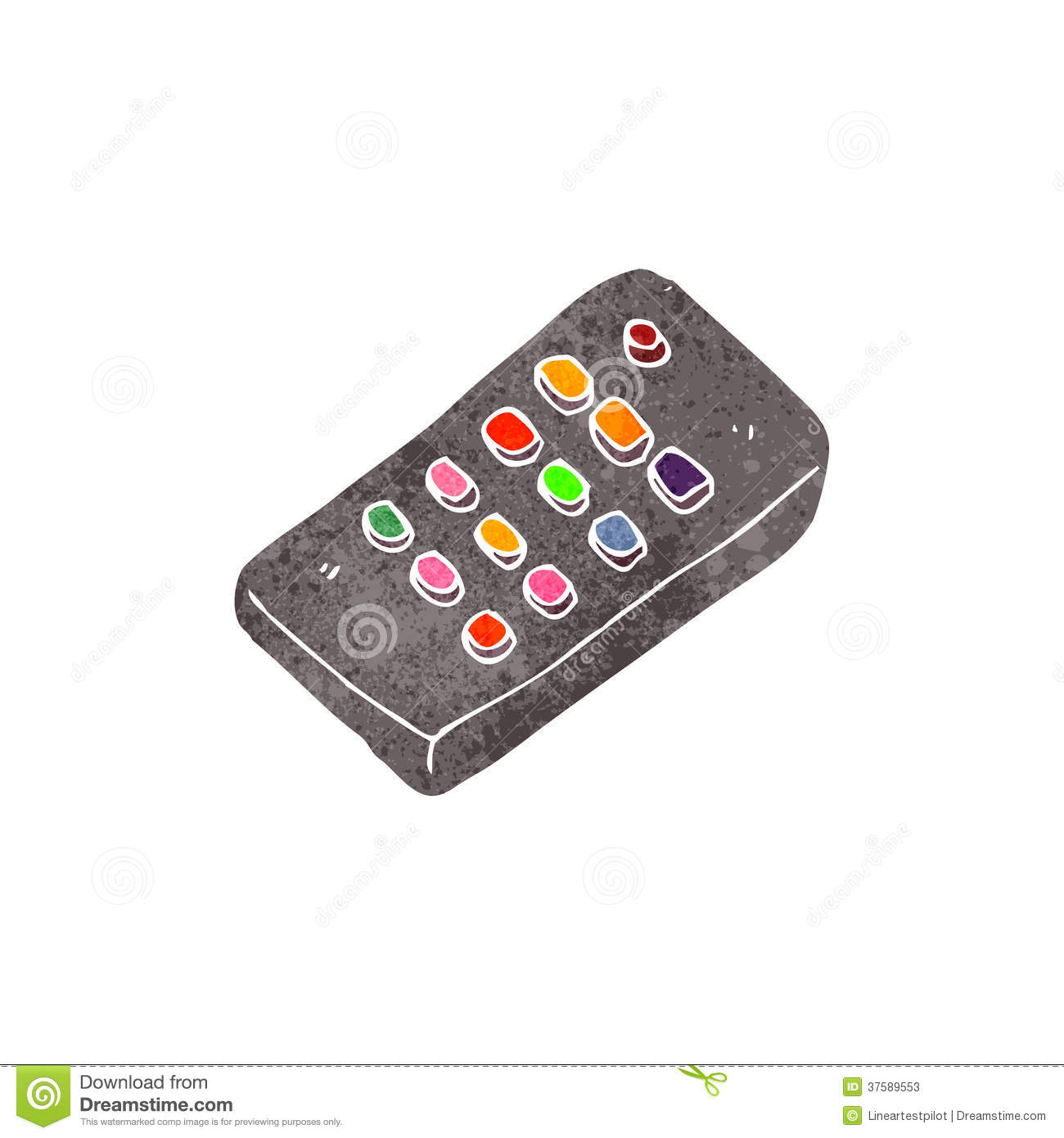 retro cartoon remote control stock illustration