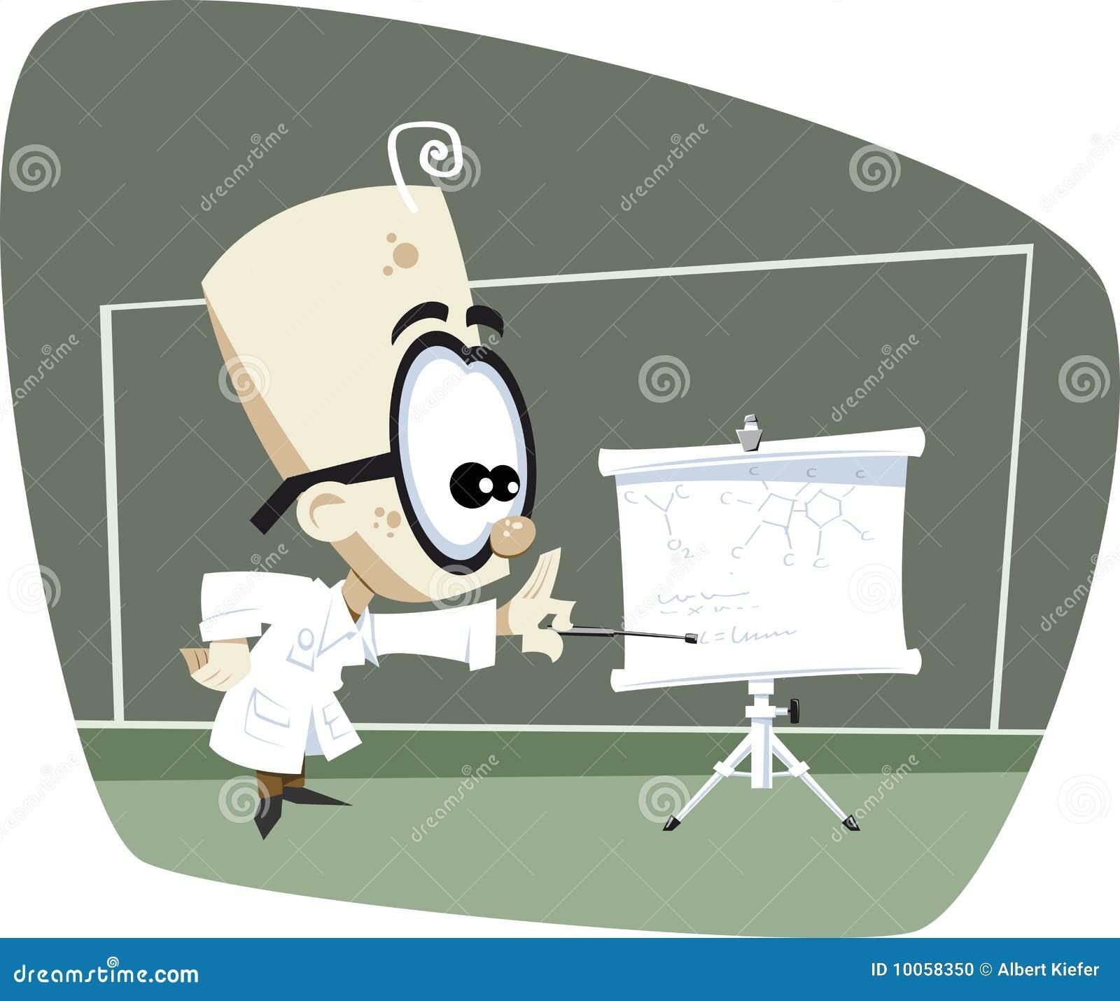 Retro Cartoon Science Professor