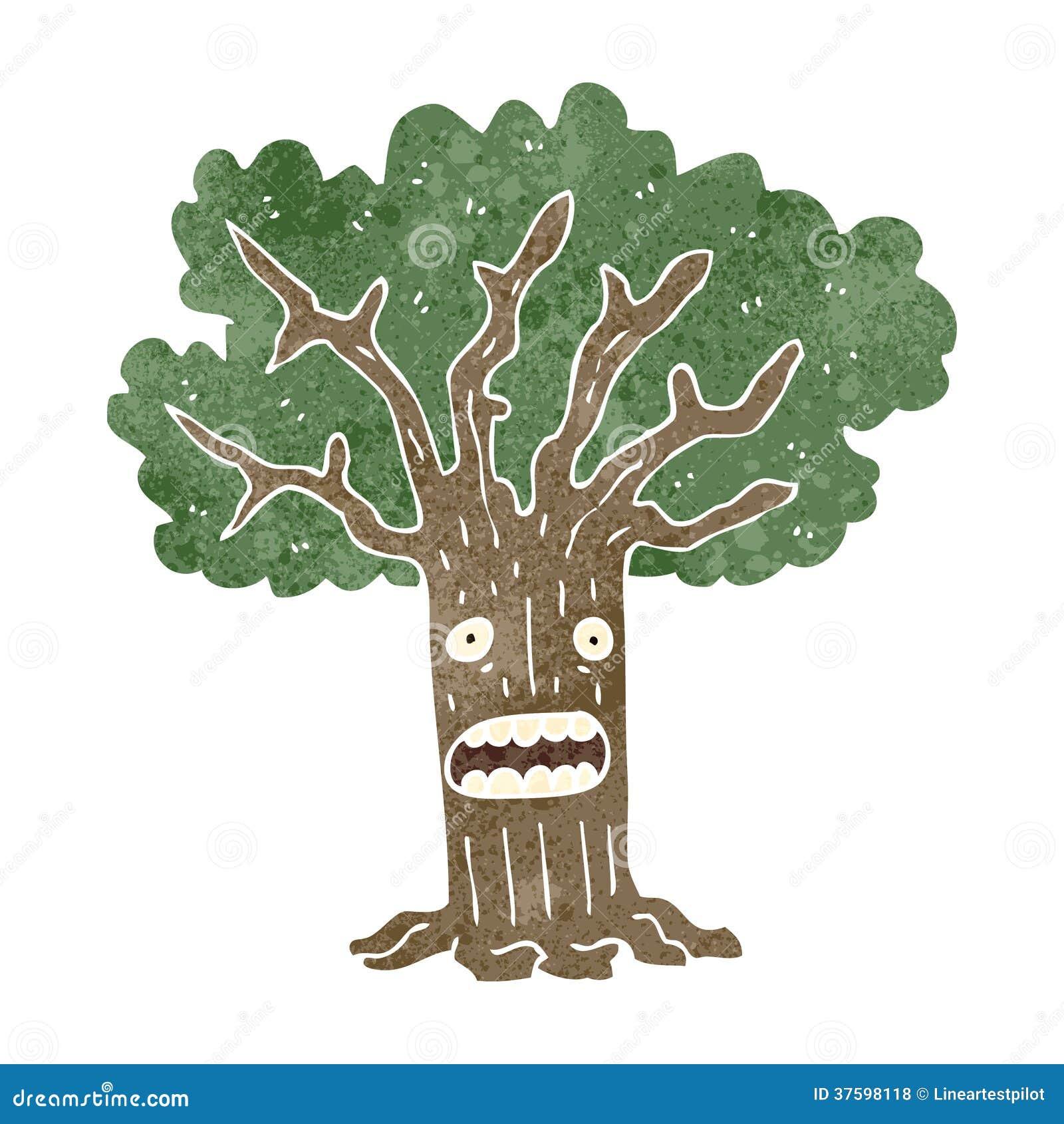 retro cartoon tree with worried face royalty free stock photos