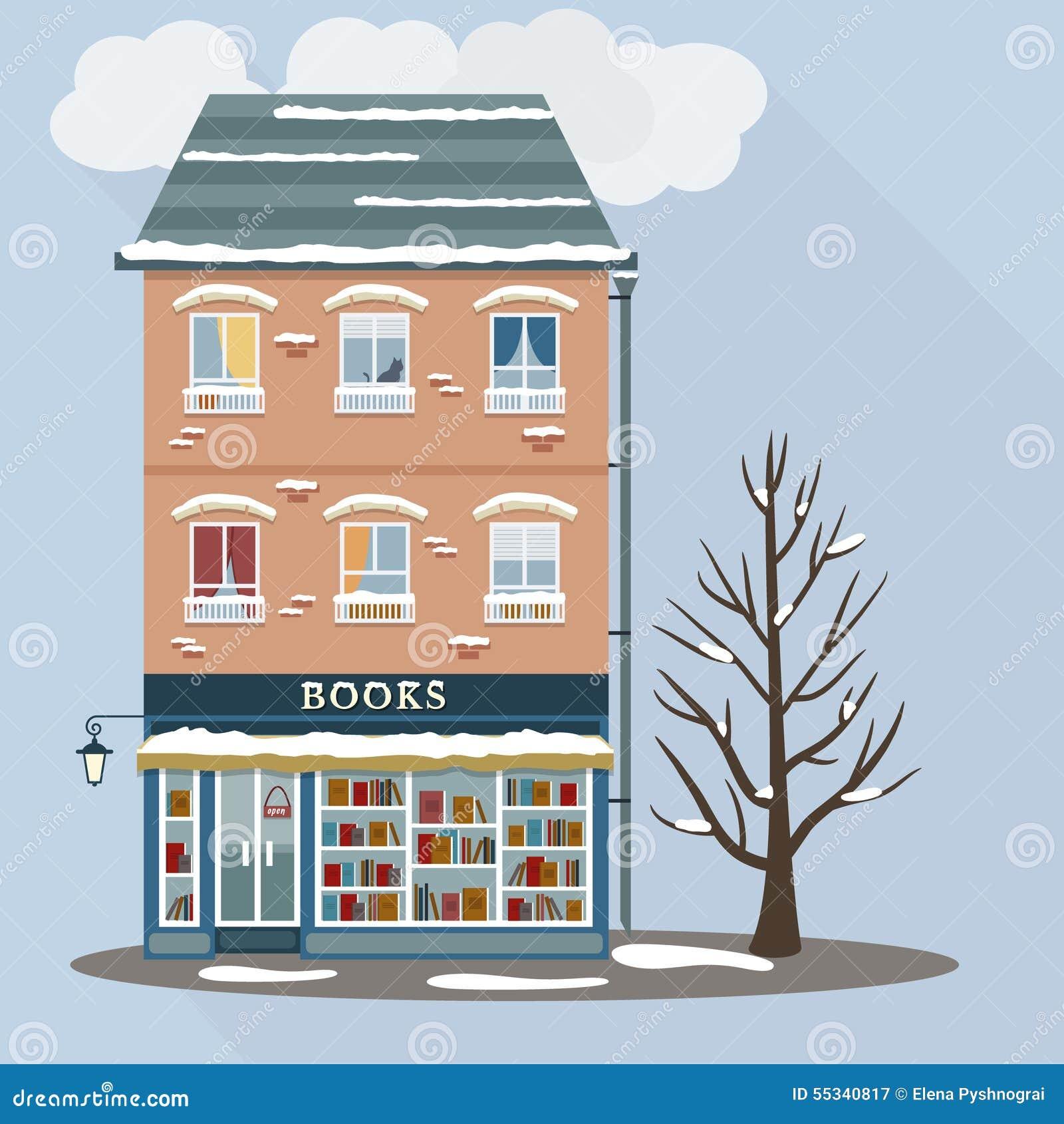 Retro casa con il negozio di libri illustrazione for Piani casa negozio