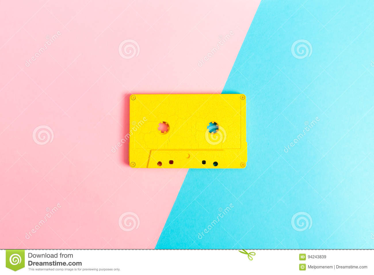 Retro cassette tapes on bright background