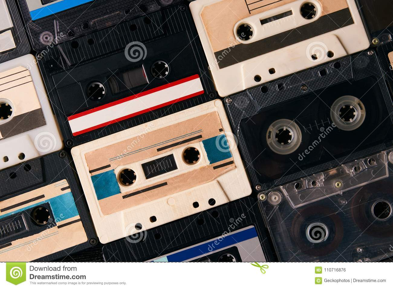 Retro cassette tapes collection background