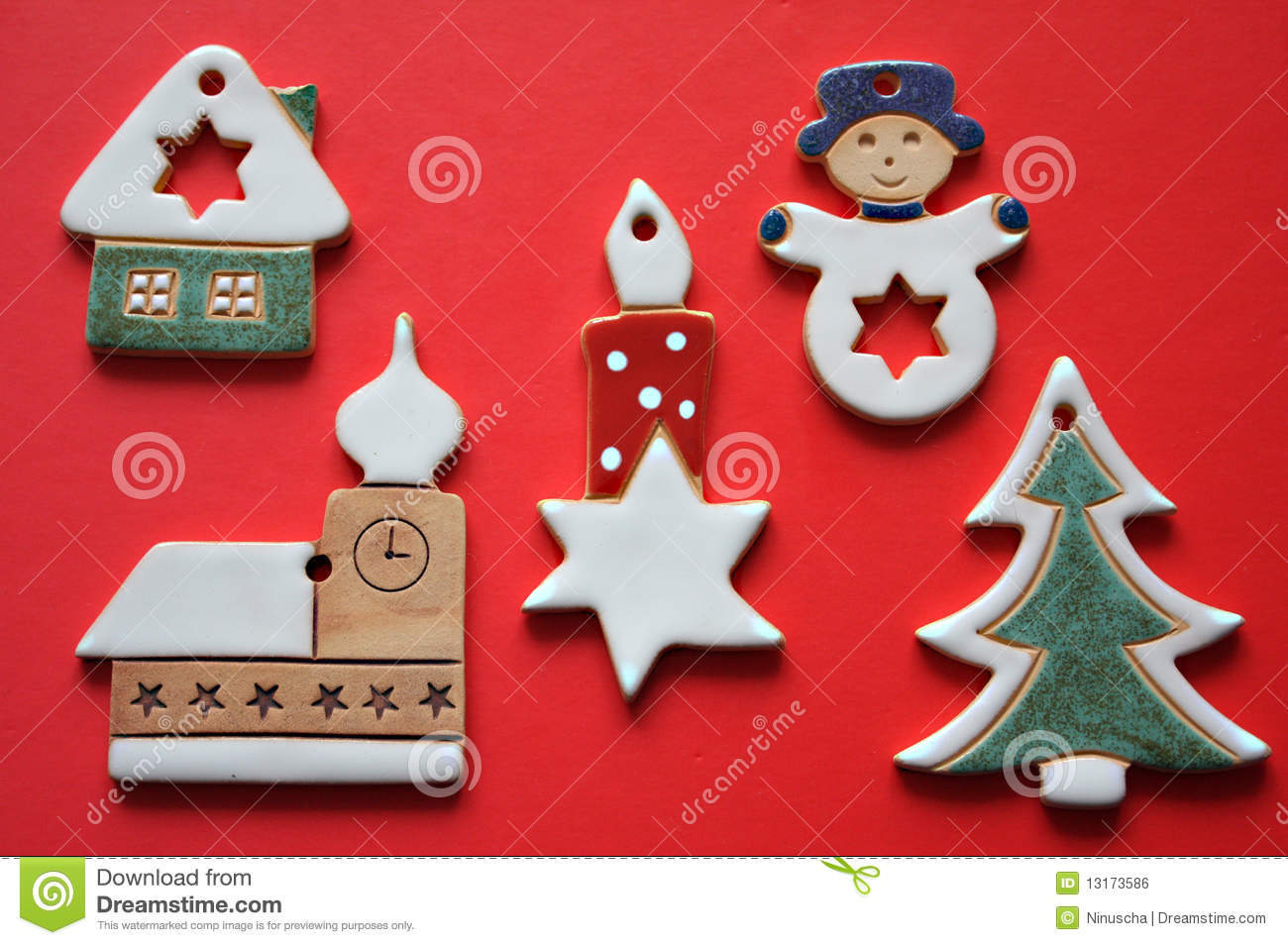 Ceramic Christmas Tree Decorations.Retro Ceramic Christmas Decorations Stock Photo Image Of