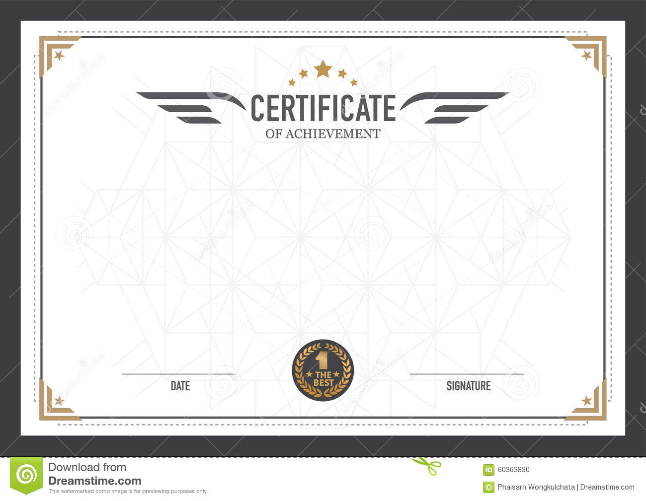 Retro certificate design template stock vector for Certificate design template