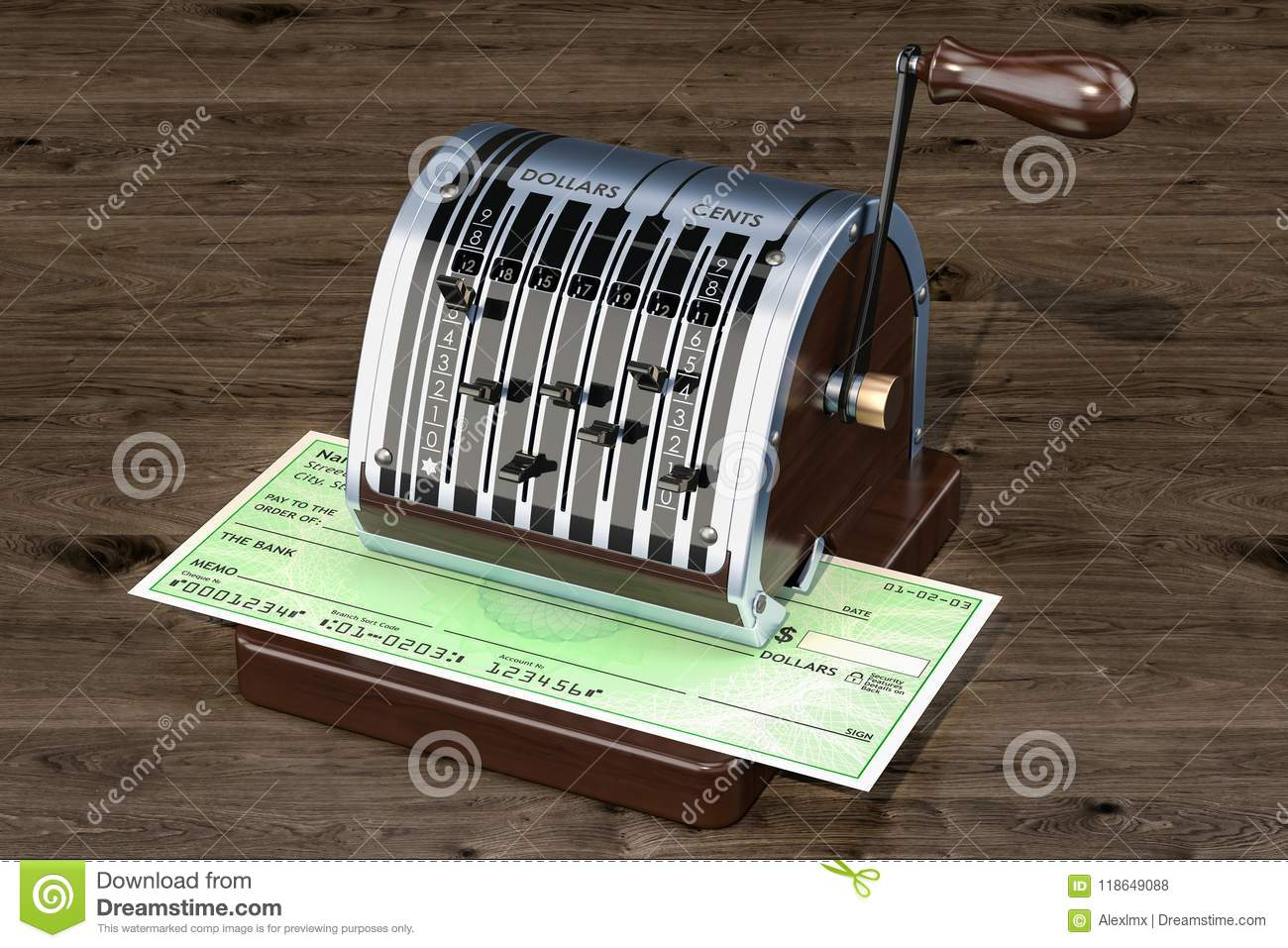 Retro Check Writer With Bank Check, 3D Rendering Stock