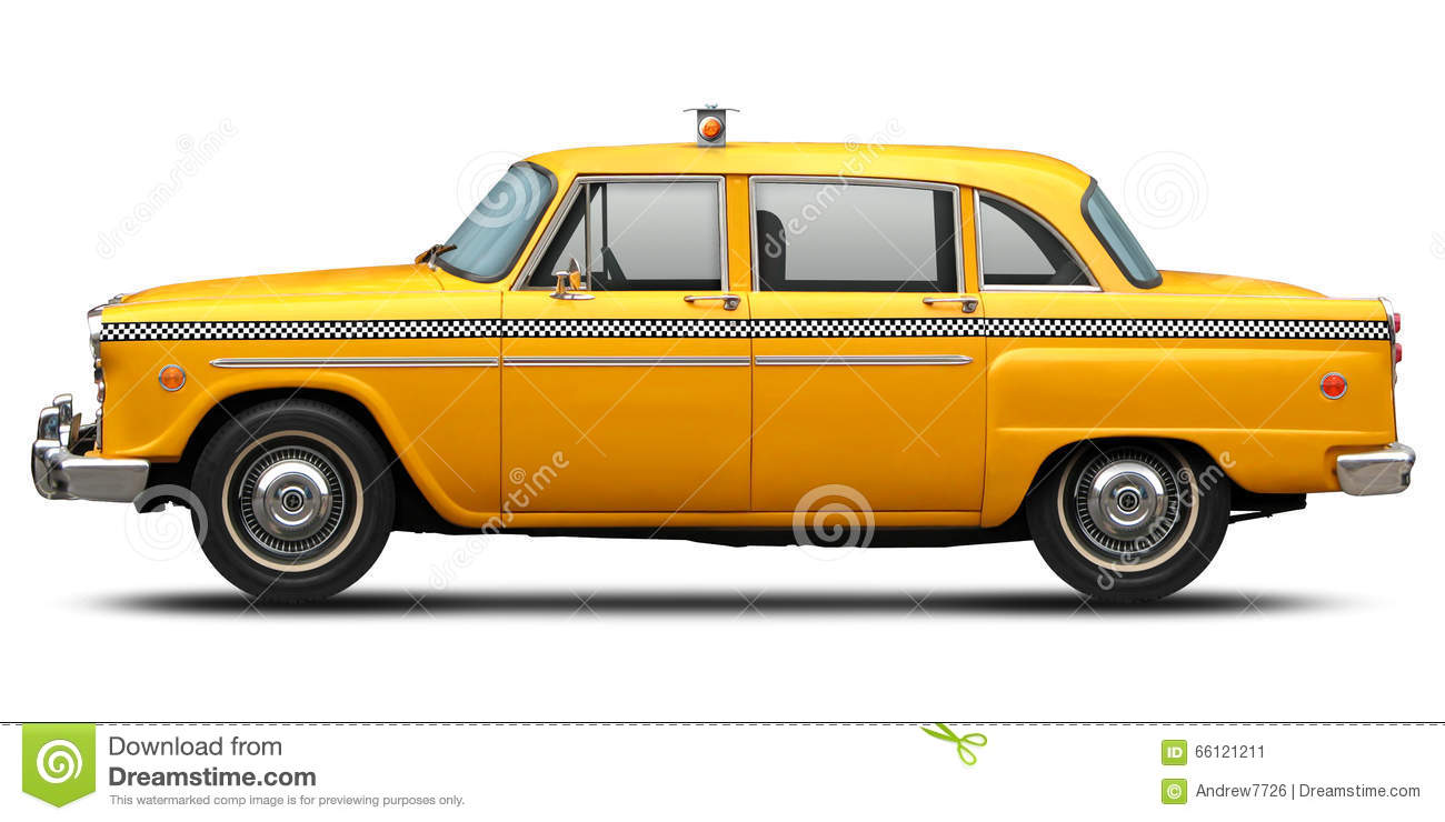 Retro checkered New York yellow taxi side view.