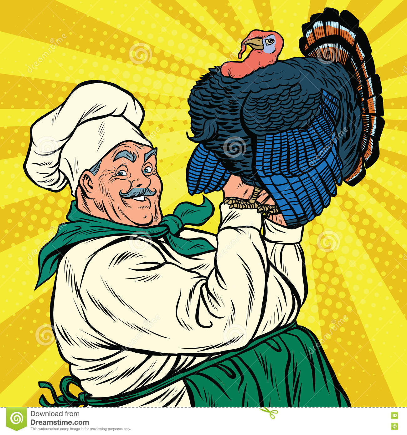 Retro Chef With A Live Turkey, Thanksgiving Stock Vector - Image ...
