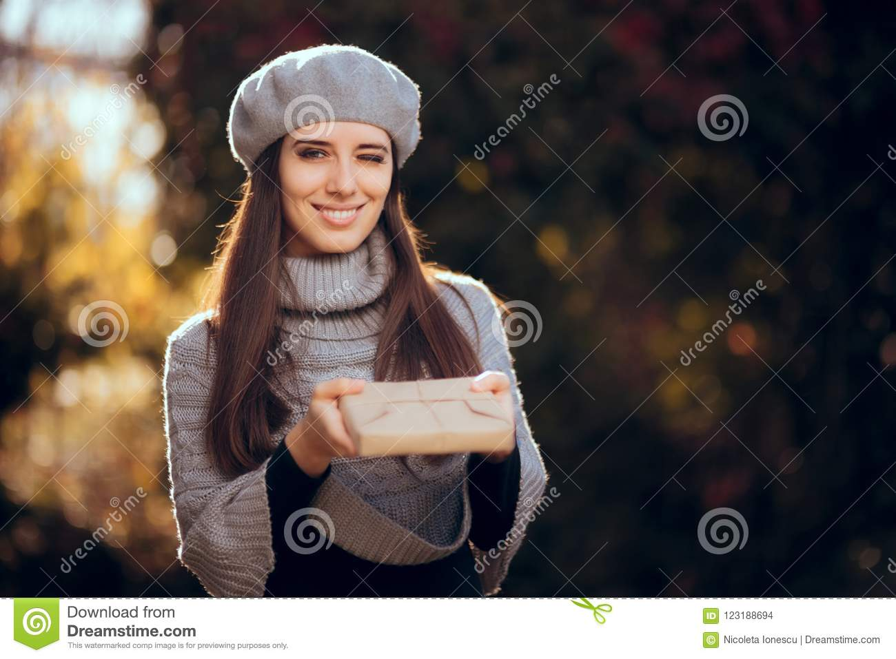 Retro Chic Girl with Beret Holding a Paper Wrapped Package