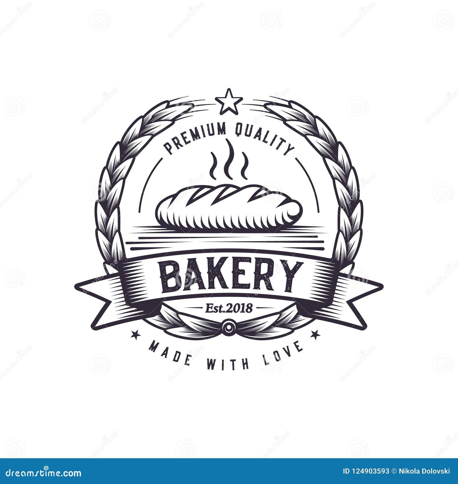 Retro chlebowa piekarni ilustracja Fasta food loga projekt Rocznik kulinarna odznaka