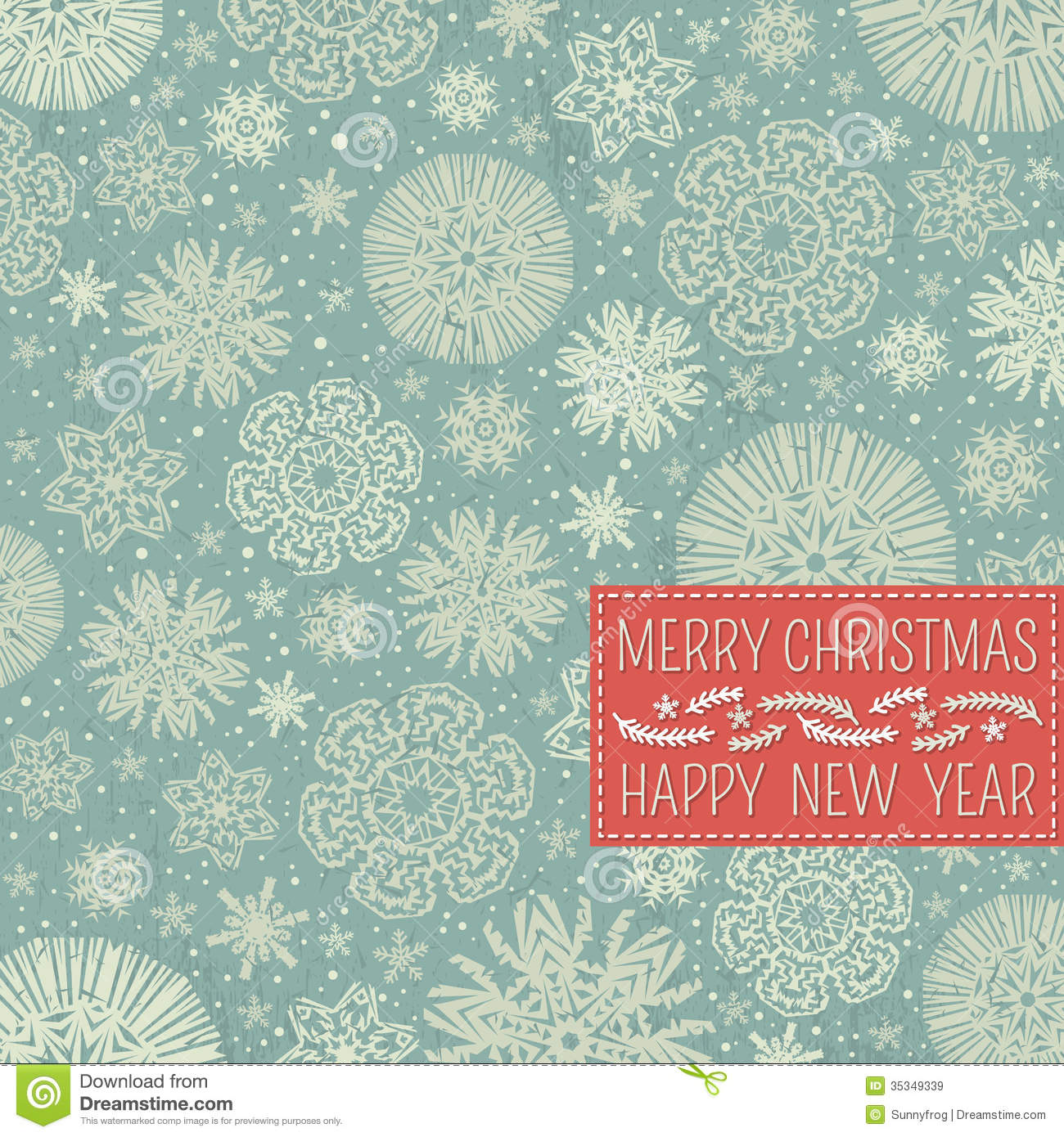Retro Christmas Background With Snowflakes And Lab Royalty