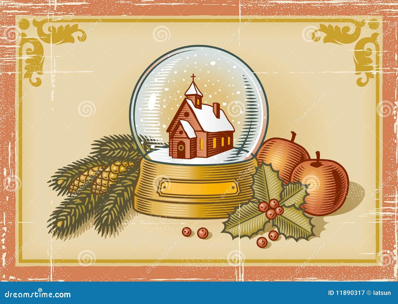 Retro Christmas Card Royalty Free Stock Photography ...