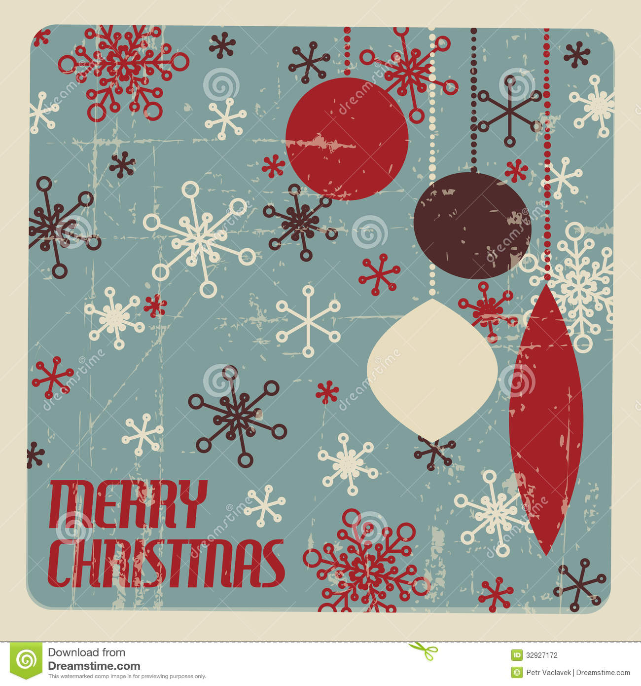 Retro Christmas Card With Christmas Decorations Stock Photography ...