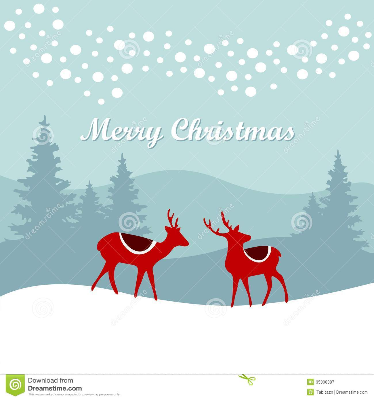 Retro Christmas Card Invitation With Reindeer In T Stock Vector