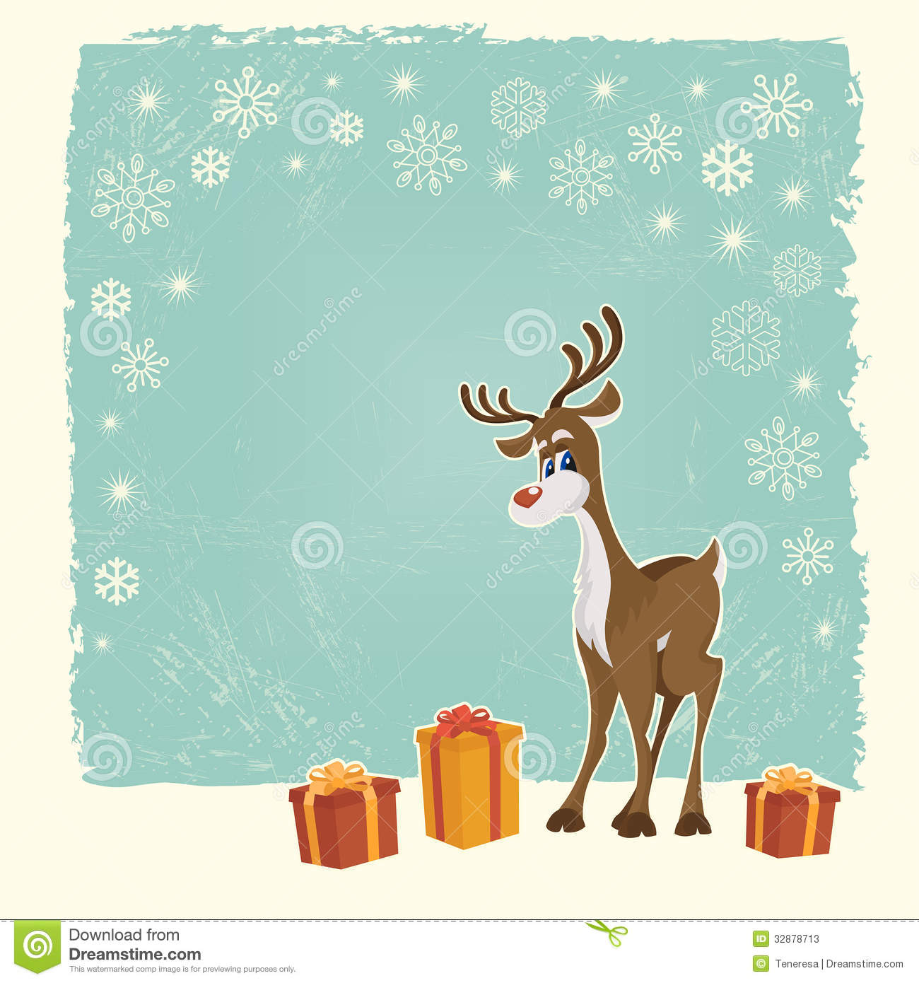 Retro Christmas Card With Reindeer Stock Vector - Illustration of ...