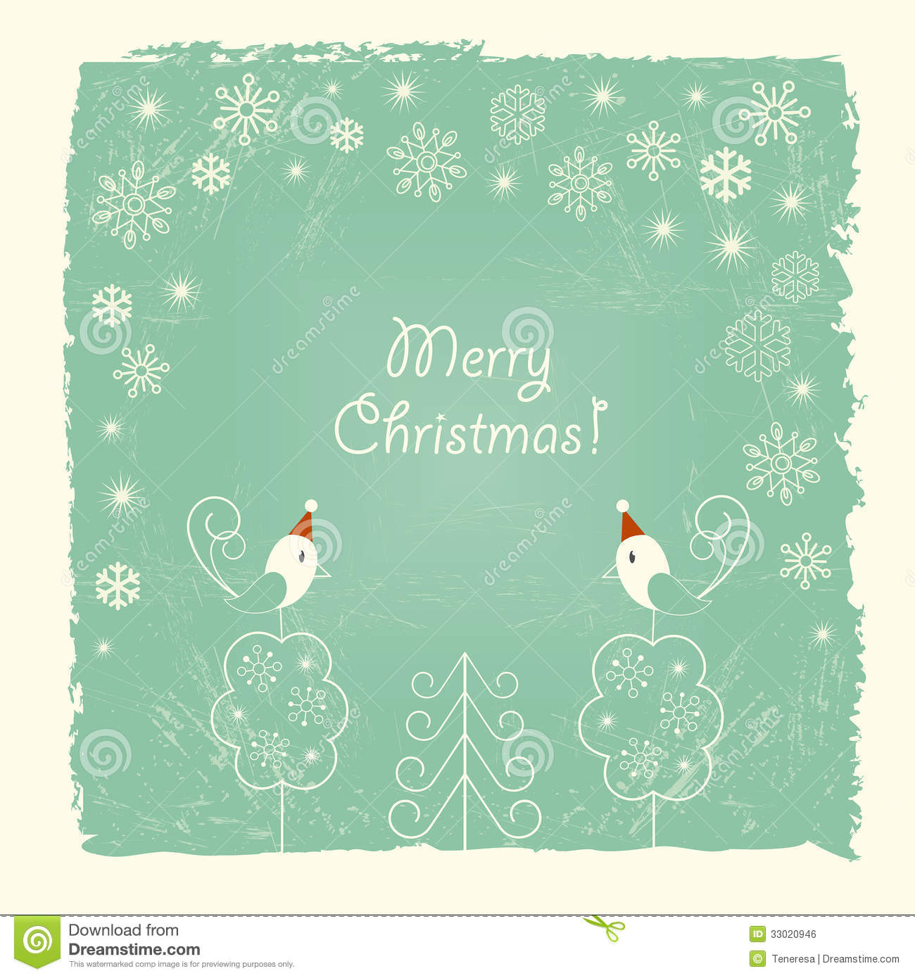 Retro Christmas Card With Snowflakes And Birds Stock Vector