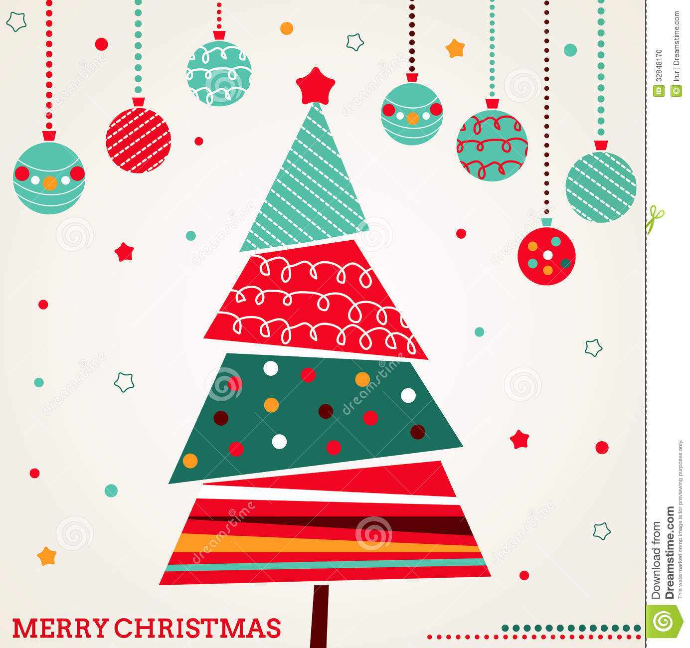 Retro Christmas Card With Tree And Ornaments Stock Vector ...