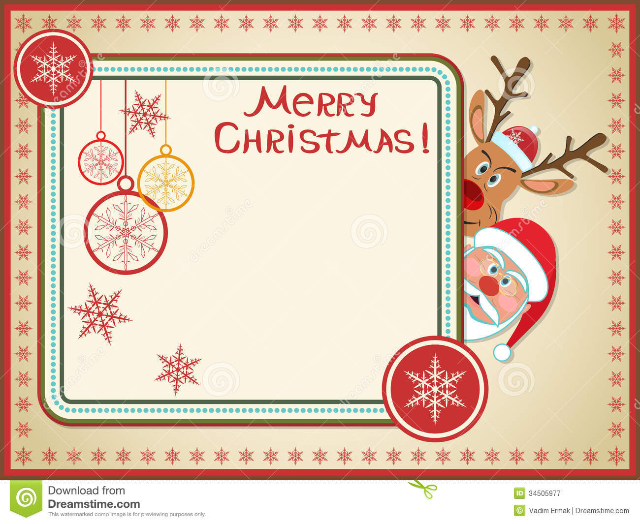 Retro Christmas Card Royalty Free Stock Photography - Image: 34505977