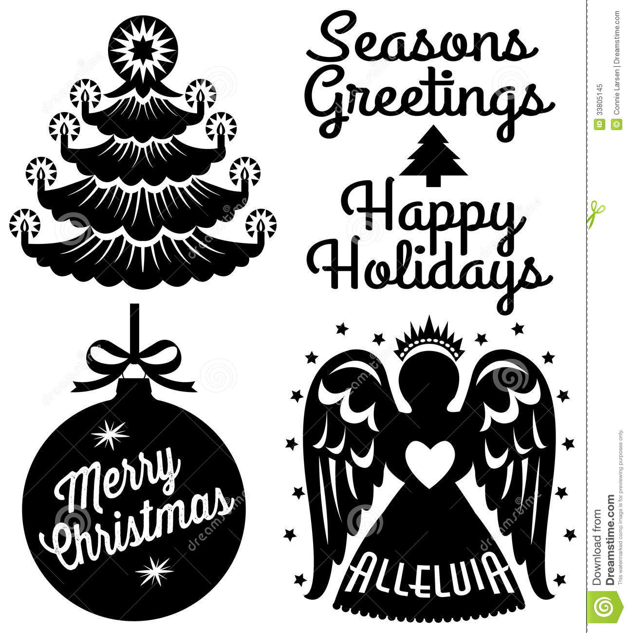Retro Christmas Clip Art Set Royalty Free Stock Photo - Image ...