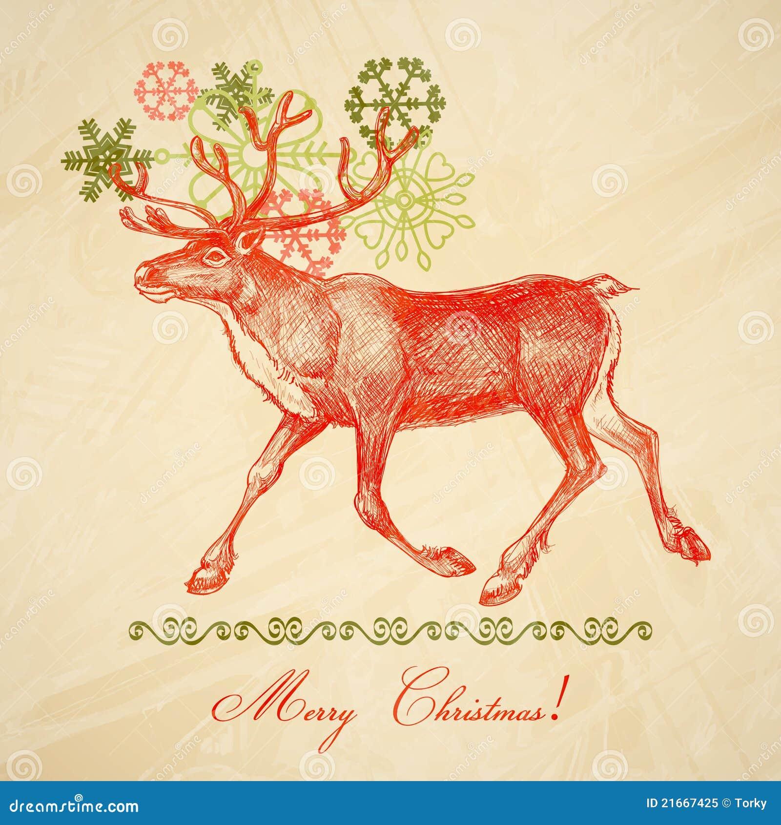 Retro Christmas deer stock vector. Illustration of
