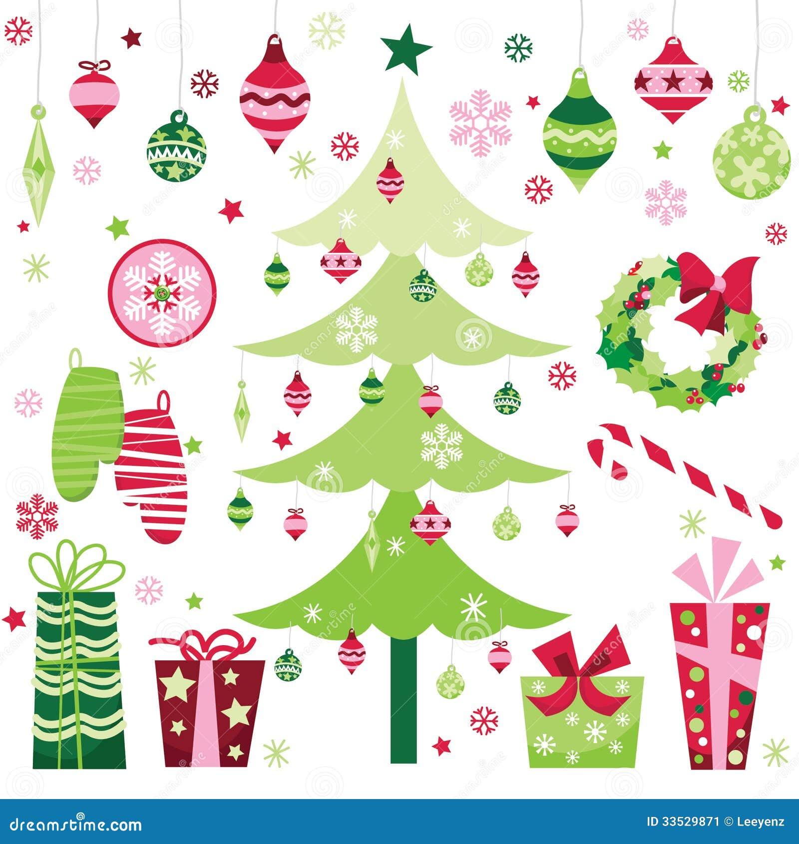 christmas clip art santa and tree
