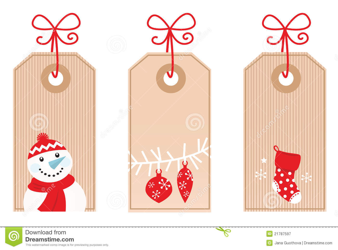 Retro Christmas Gift Tags Red Royalty Free Stock