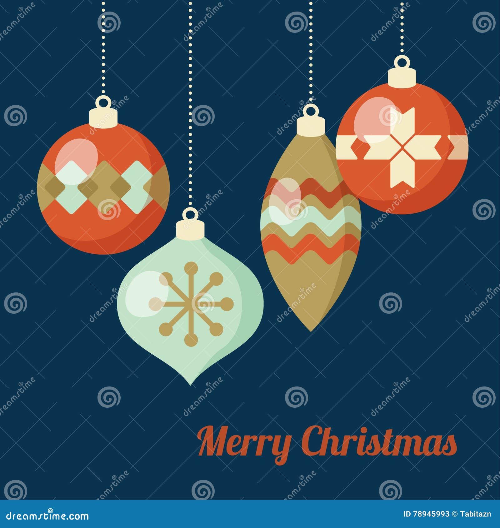 Retro christmas greeting card invitation hanging christmas balls retro christmas greeting card invitation hanging christmas balls baubles ornaments flat m4hsunfo