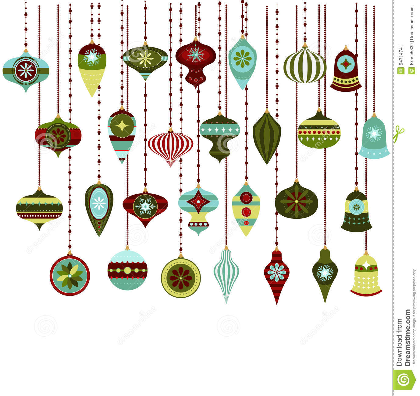 Retro Christmas Ornaments Vector Clipart Stock Vector - Image ...