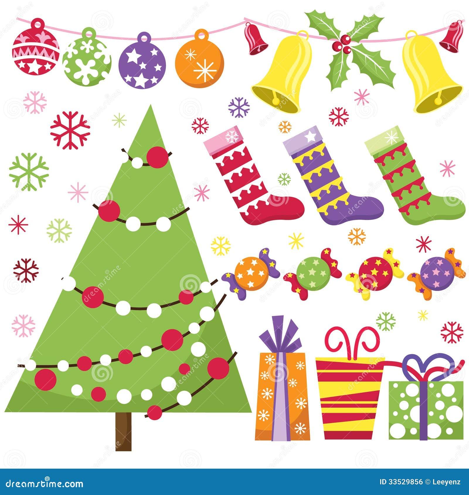 Christmas Tree Decoration Elements: Retro Christmas Set Stock Vector. Image Of Design, Shape