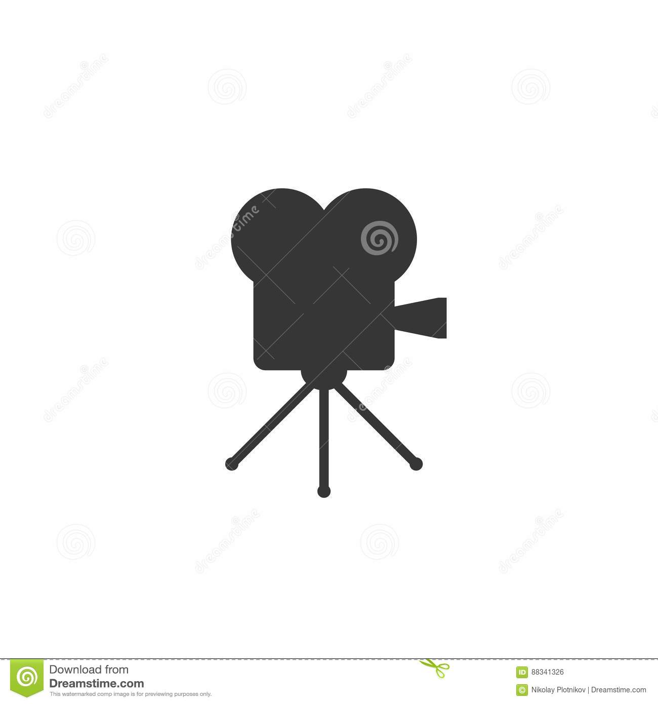 Retro cinema icon isolated on white background. Old movie projector