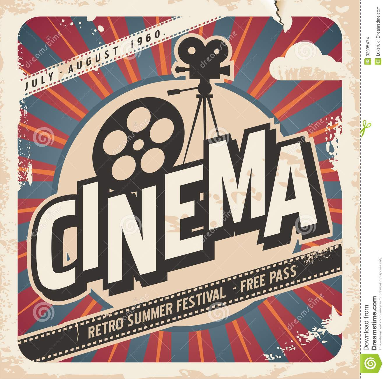 Retro cinema poster stock vector image of 1970s - Retro vintage ...