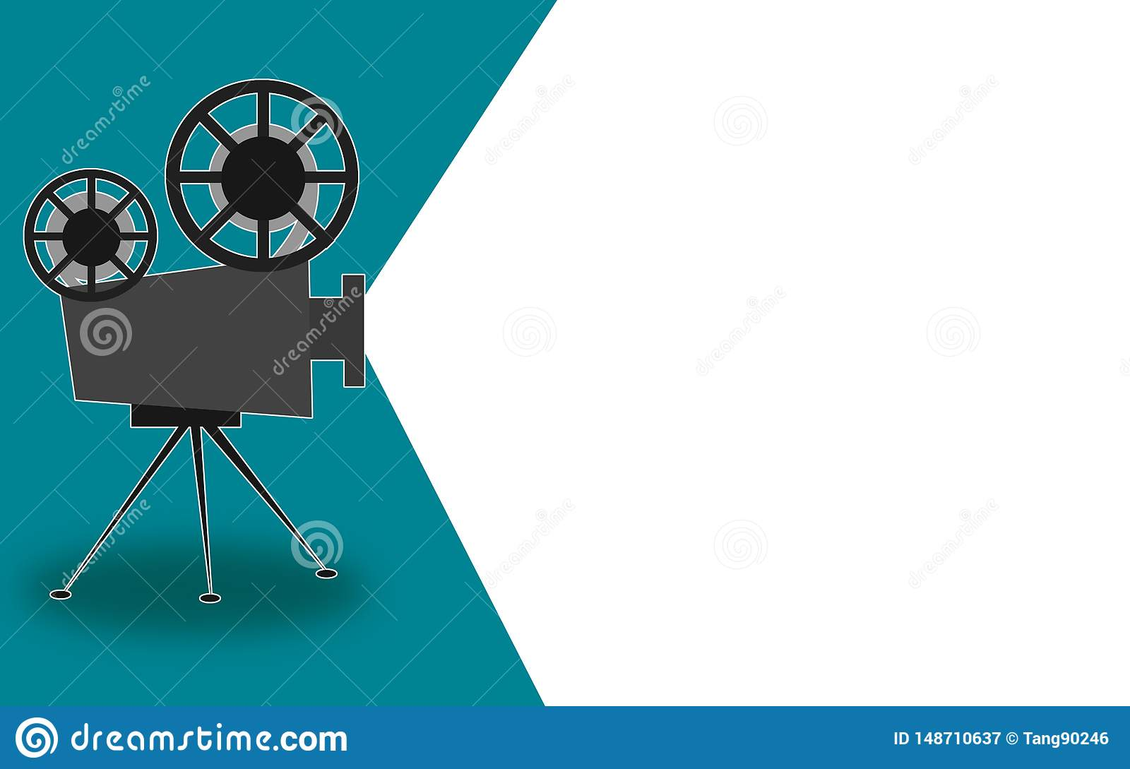 Retro cinema projector with text place