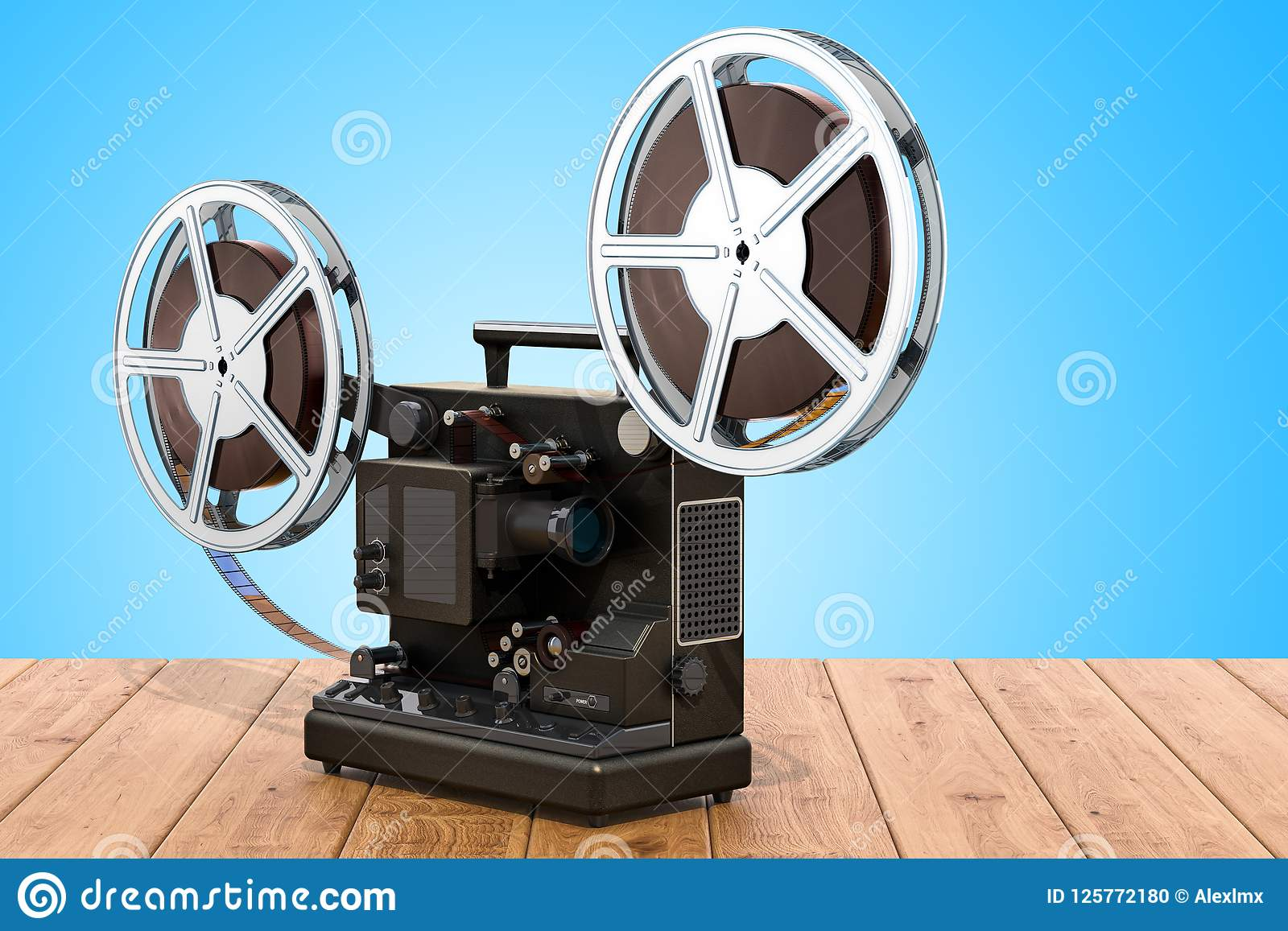Retro cinema projector on the wooden table. 3D rendering