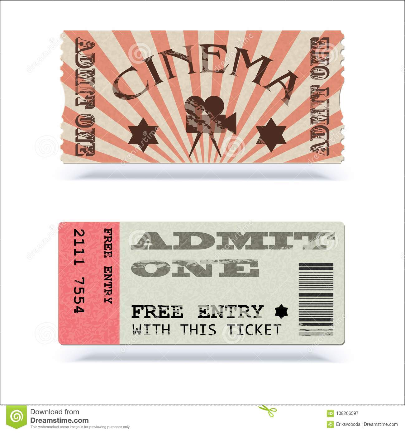 retro cinema tickets or event shape with texture effect and vintage