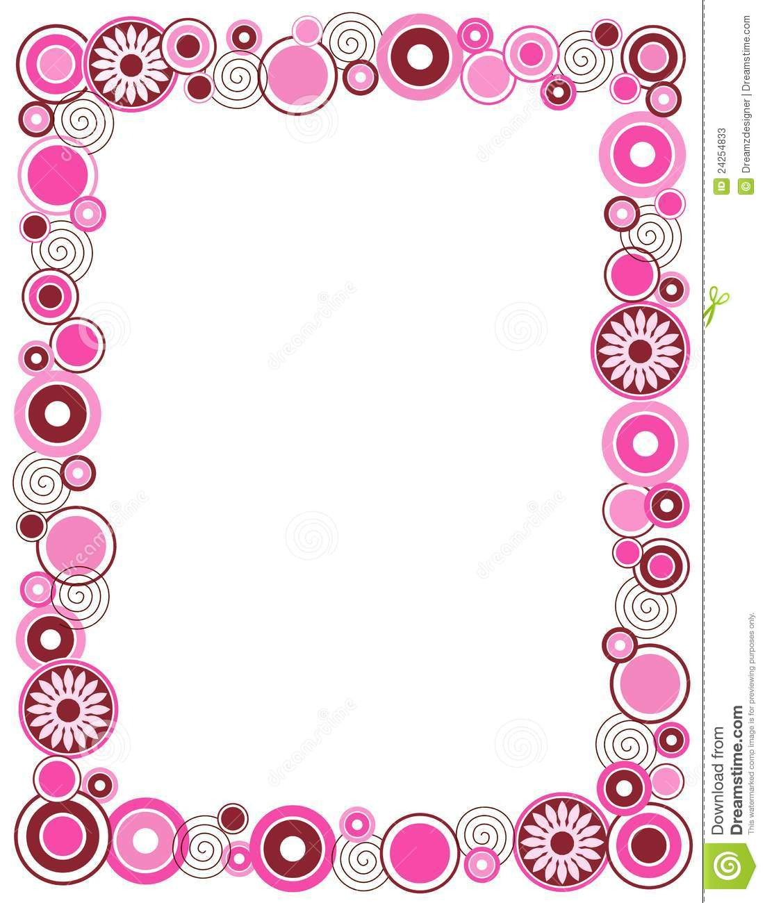 Beautiful pink retro circle / flowers frame / border.