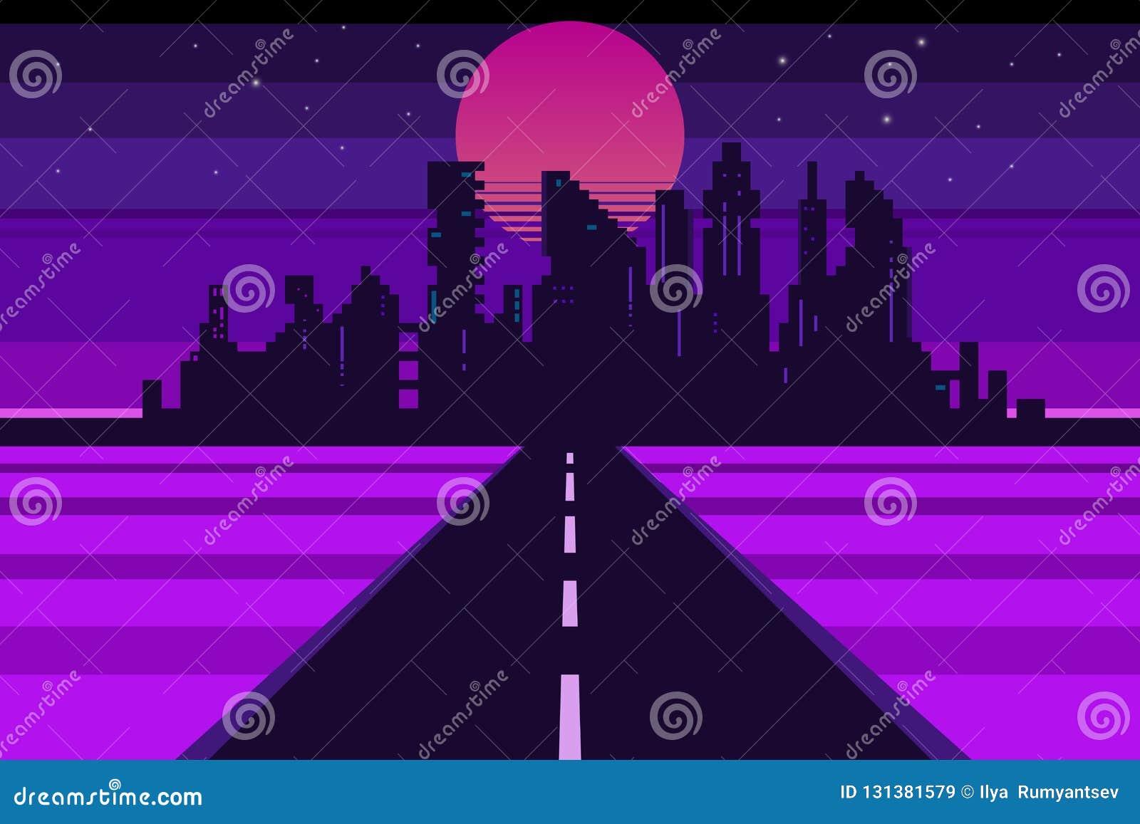 Retro city landscape, futuristic background