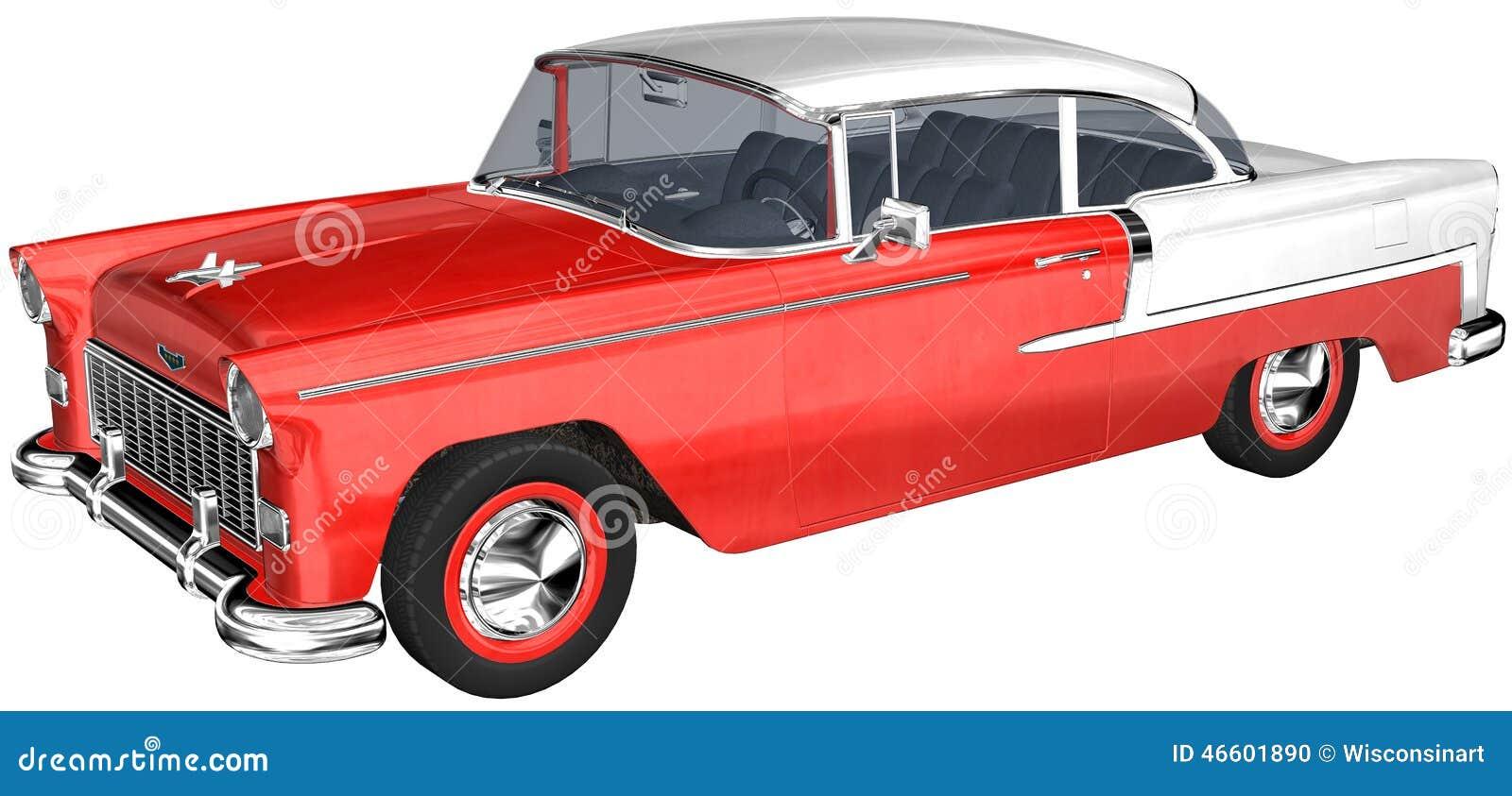 Retro Classic Car Illustration Isolated Stock Illustration Image