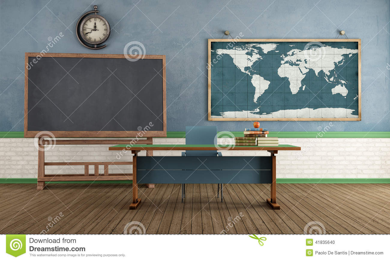 Retro Classroom Without Student Stock Illustration Image