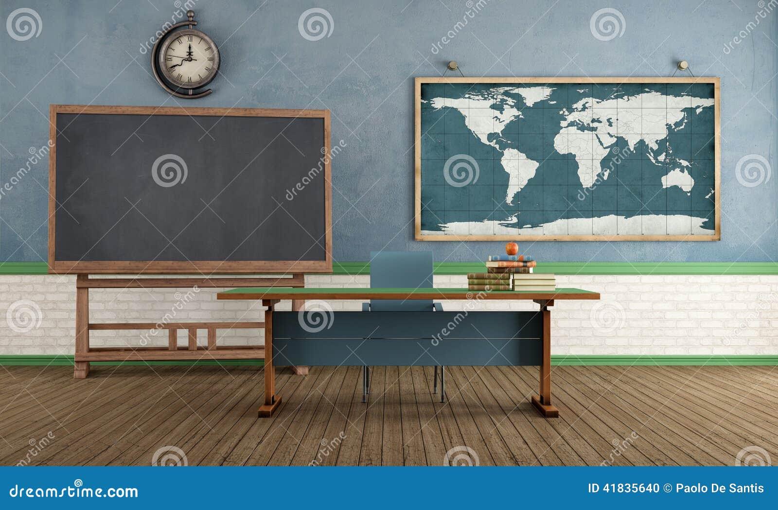 Blackboard Innovative Classroom ~ Retro classroom without student stock illustration