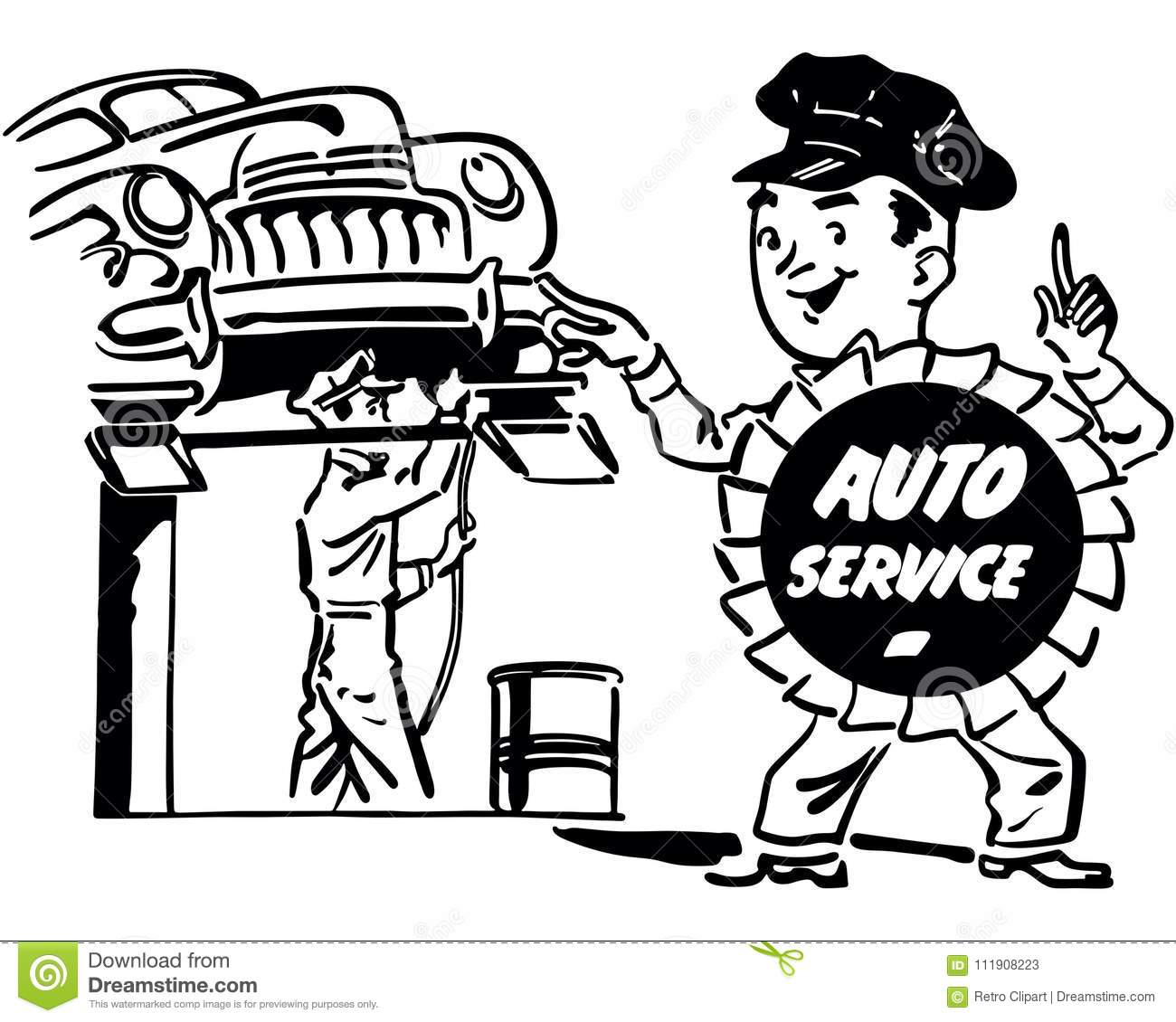 automobile repair shop stock vector illustration of 1950s 111908223