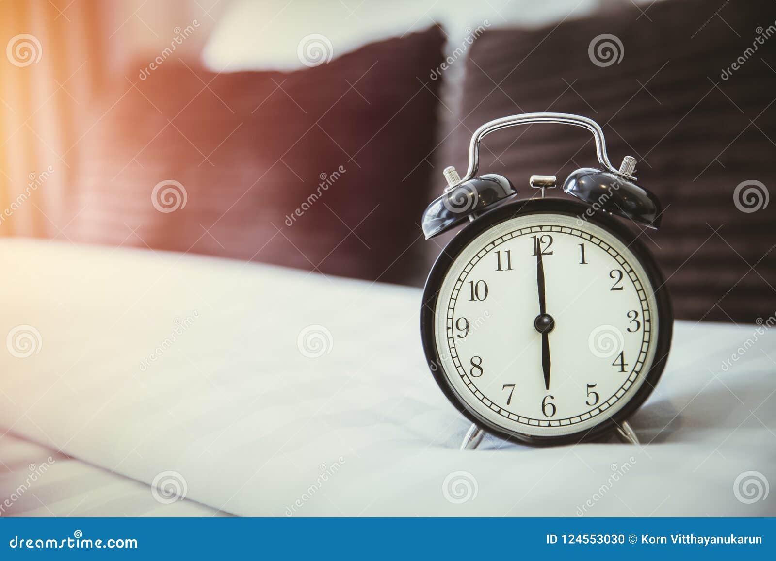 Retro clock on bad morning wake up times 6 o`clock