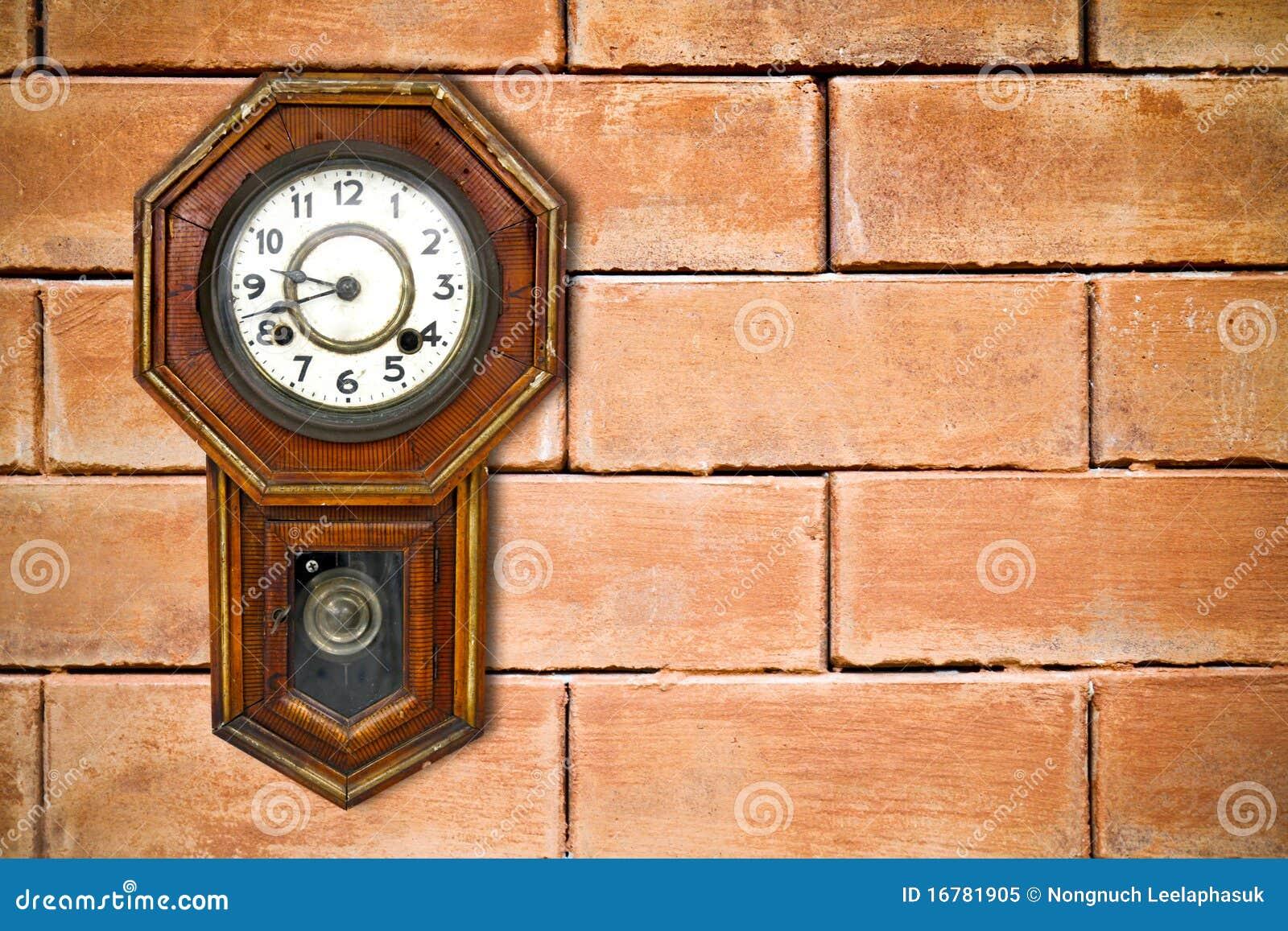 Retro Clock Hanging On Brick Wall Stock Image Image Of Background