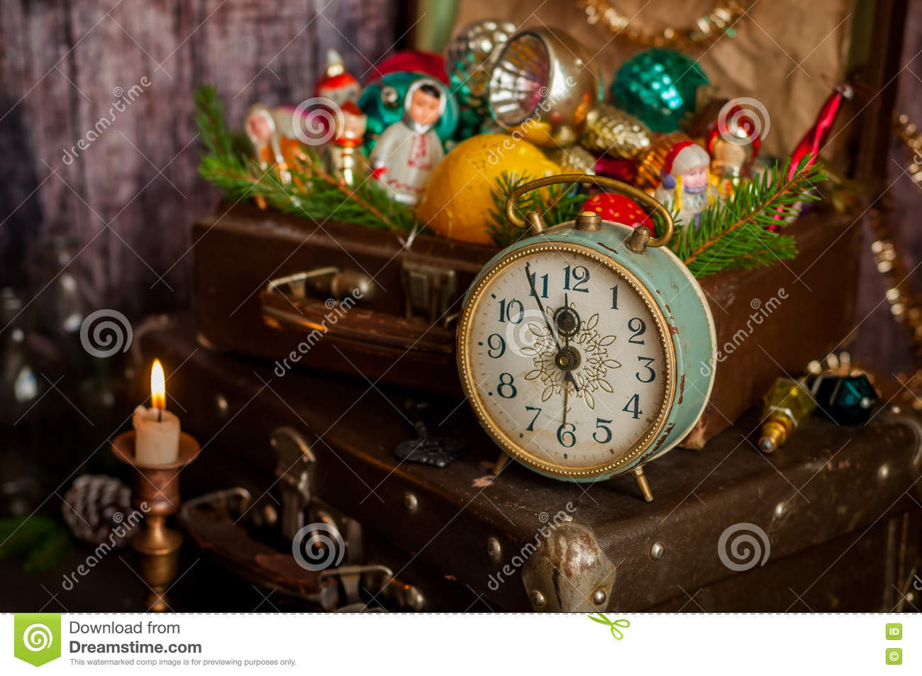 retro alarm clock vintage leather suitcases old fashioned christmas tree decorations copy space for your text