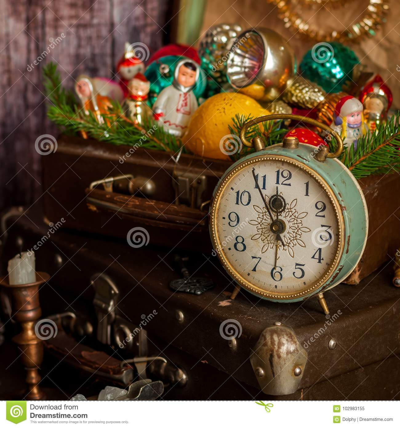 retro alarm clock vintage leather suitcases old fashioned christmas tree decorations square