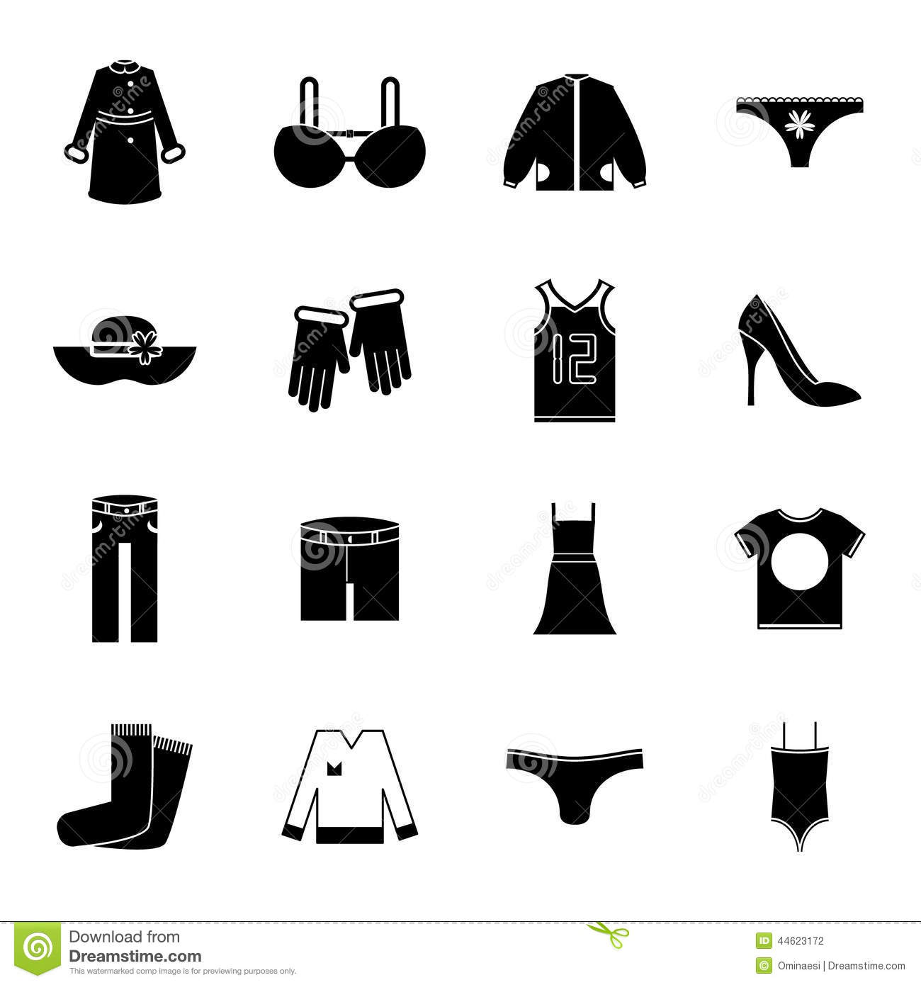 Retro Clothes Symbols Accessories Icons Set Trendy Stock Vector Illustration Of Cotton