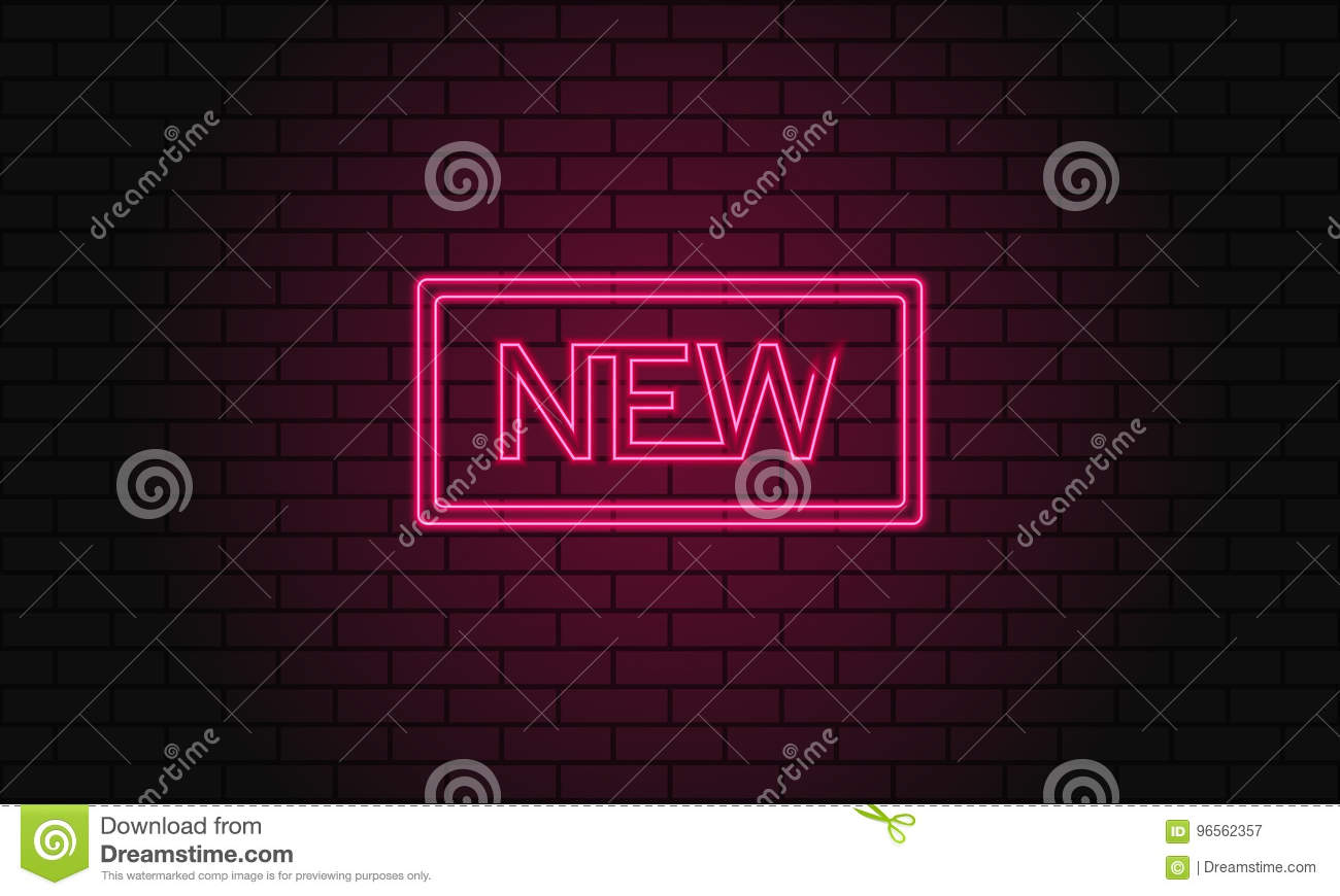 Retro club inscription New. Vintage electric signboard with bright neon lights. Pink light falls on a brick background. Vector ill
