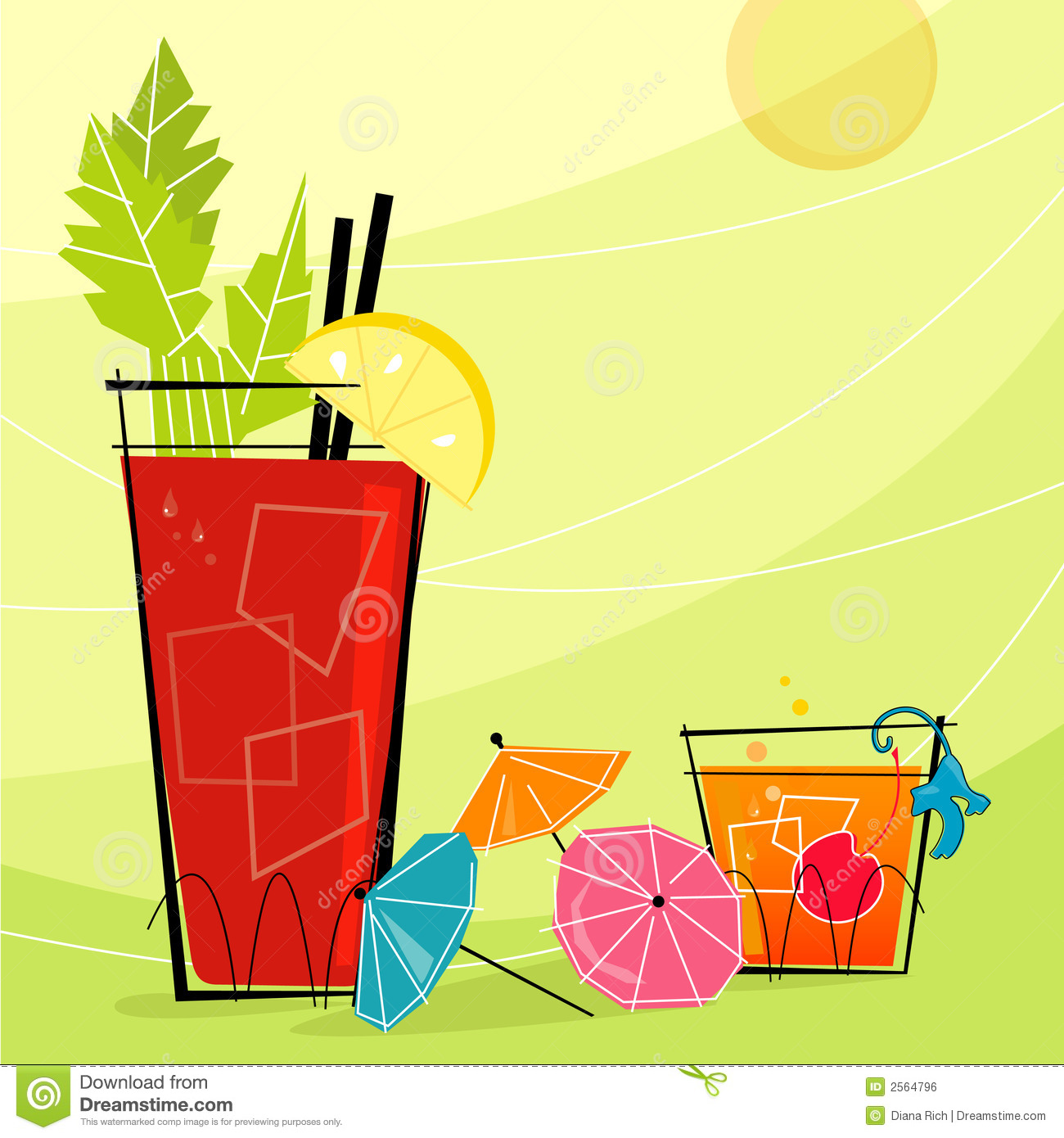 Retro Cocktails with paper umbrellas. Each item is grouped so you can ...