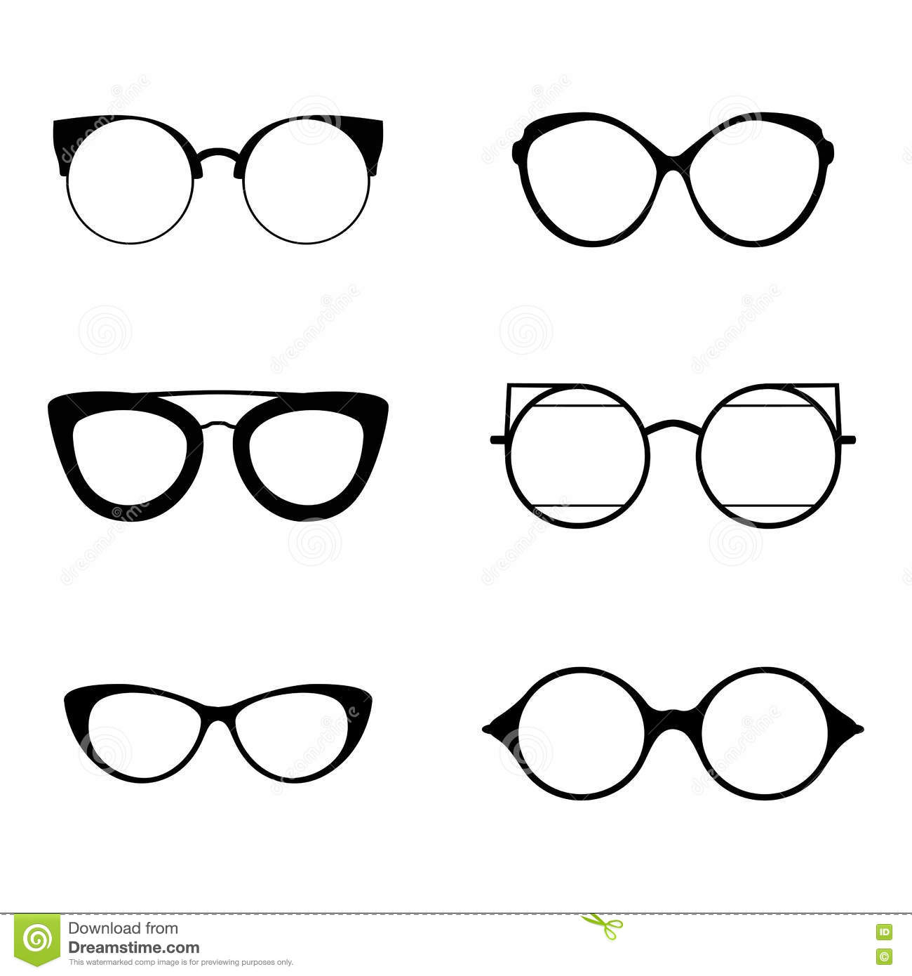 6ccbb571f09 Retro collection of 6 various glasses. Sunglasses black silhouettes. Eye  glasses set. Vector