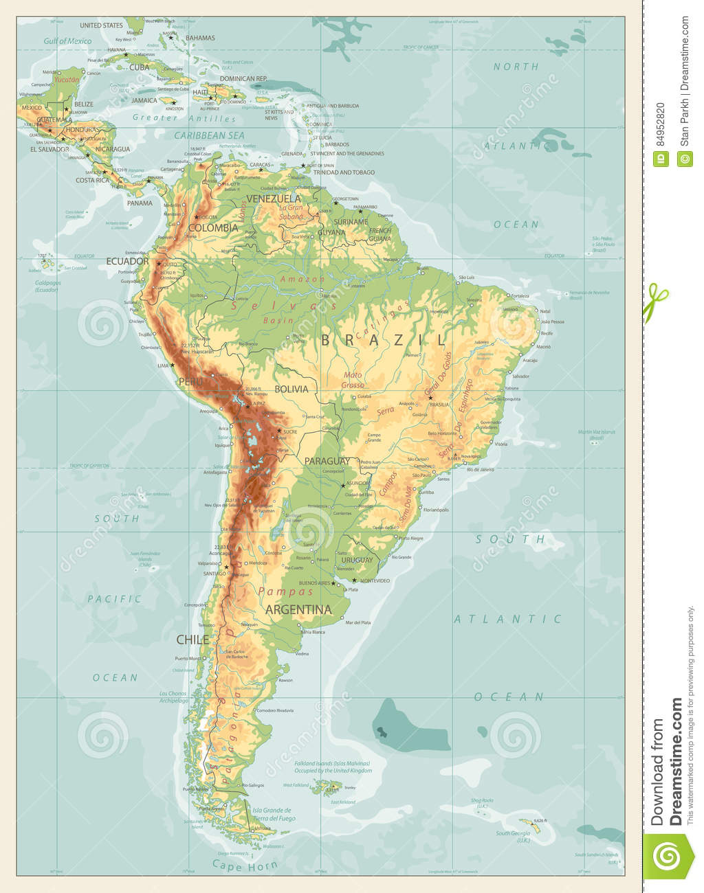 Retro Color Physical Map Of South America Stock Vector ...